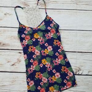 Rue21 Floral Print Crochet Racerback Tank Top
